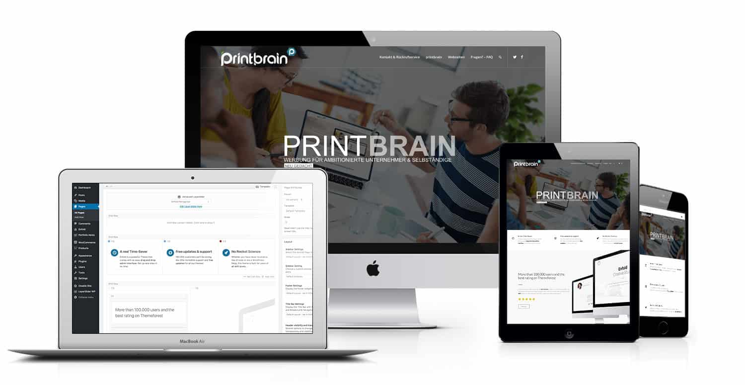 Printbrain advertising agency: Delusional websites - affordable monthly including service